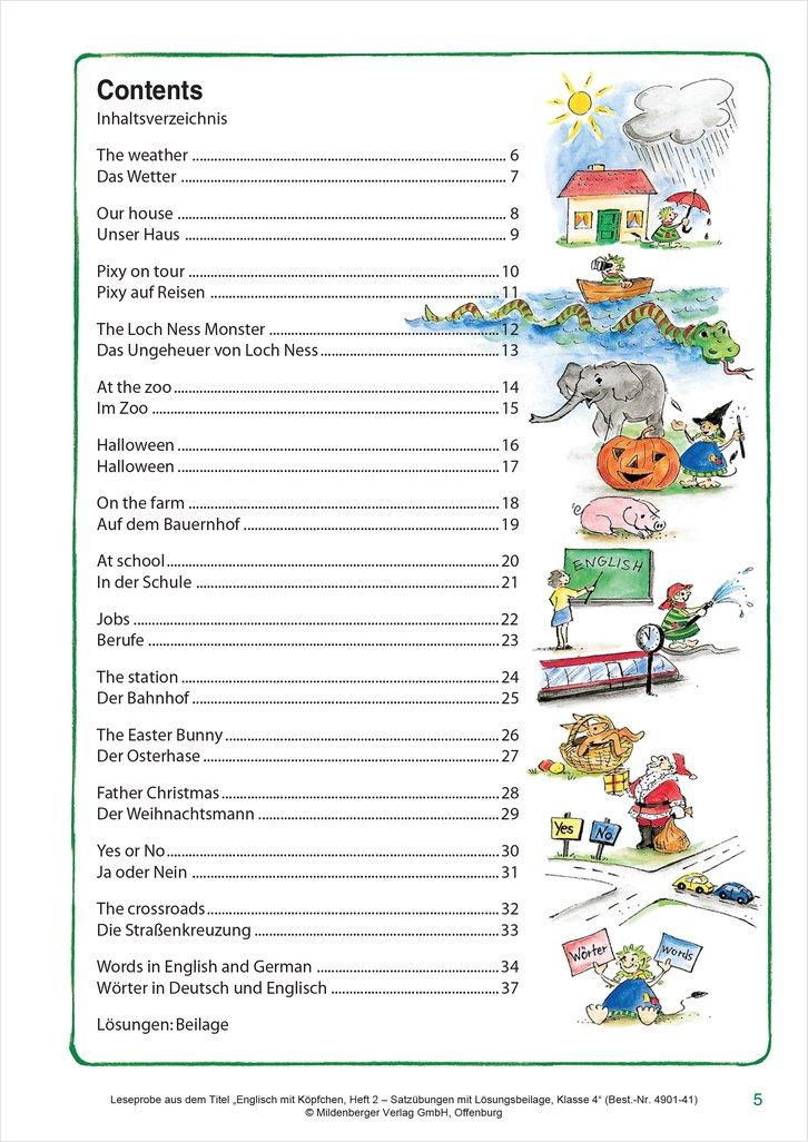 Mildenberger Verlag GmbH - Englisch mit Ku00f6pfchen Heft 3 u2013 Grammatiku00fcbungen mit Lu00f6sungsbeilage ...