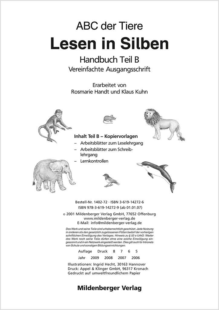 Mildenberger Verlag GmbH - ABC der Tiere – Handbuch Teil B (VA)