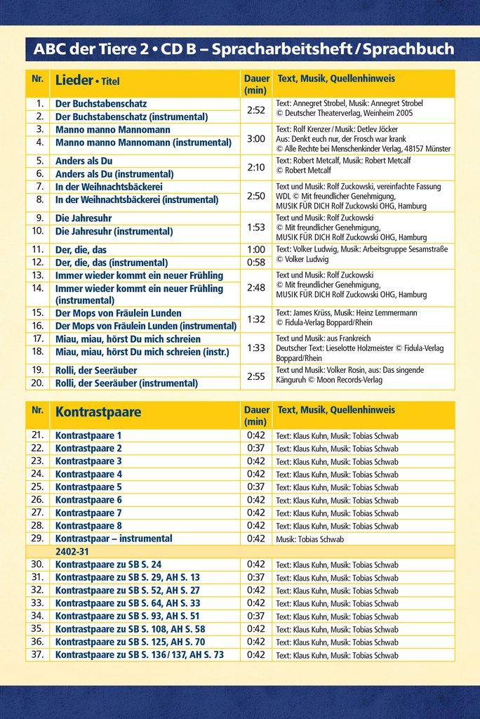 Mildenberger Verlag Gmbh Abc Der Tiere 2 Lieder Und