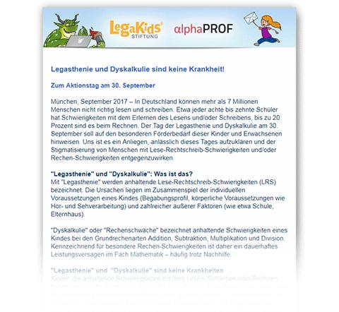 Newsletter LegaKids und alphaPROF