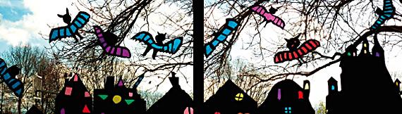 Fensterbild Fledermäuse über der Stadt