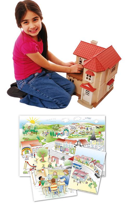 Spielsachen und Erzählposter motivieren Kinder zum Sprechen