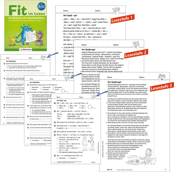 Fit im Lesen: dreifach differenzierte Erzähltexte und Arbeitsblätter