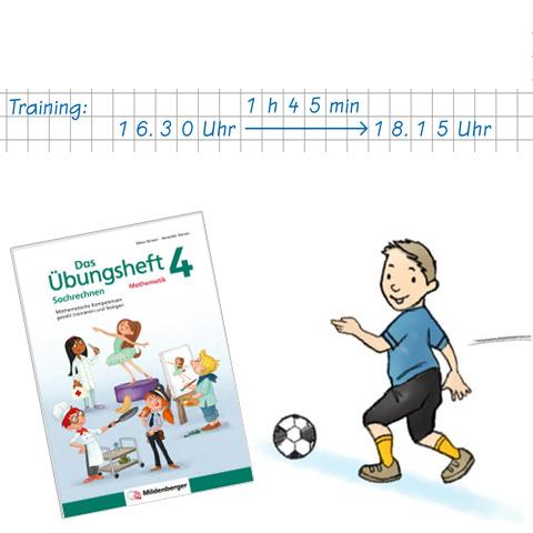 Das Übungsheft Sachrechnen 4 – Textaufgabe mit Fußballbezug